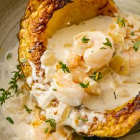 Garlic Parmesan Cream Shrimp over Roasted Squash