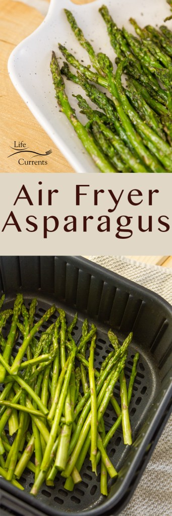 Air Fryer Asparagus long pin with two images