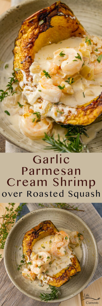 Garlic Parmesan Cream Shrimp over Roasted Squash long pin for pinterest with two images and a title
