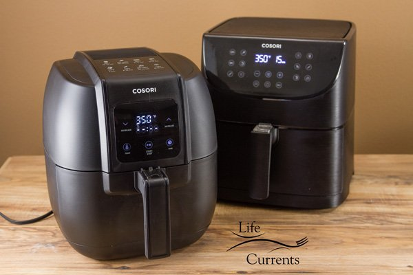 the COSORI 3.4 QT Air Fryer in the front left and the COSORI 5.8 QT Air Fryer in the back right