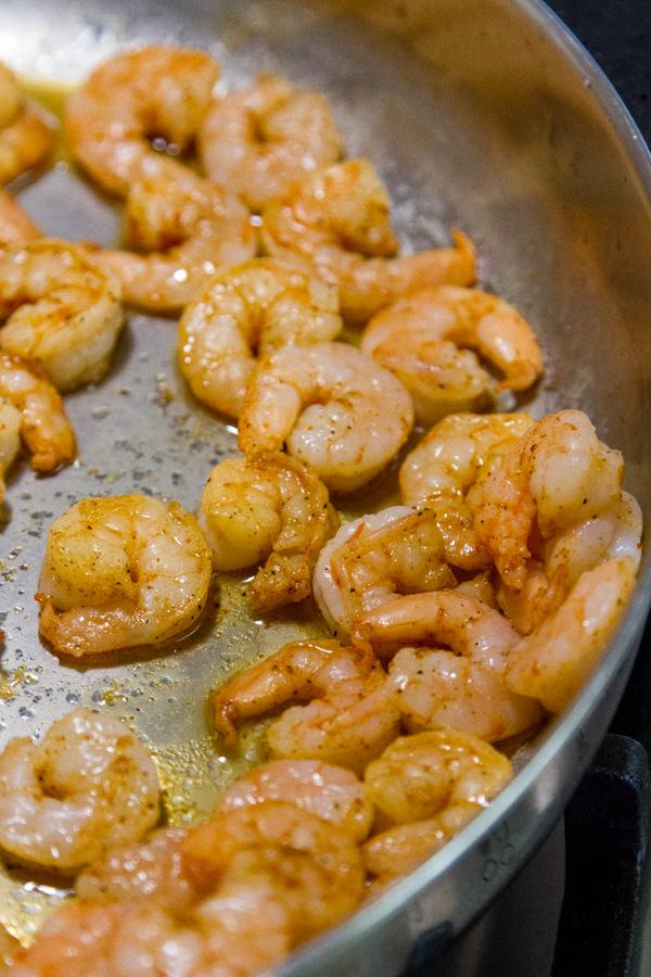 seared Cajun shrimp in the pan