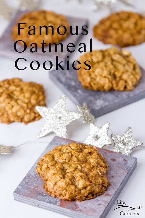 oatmeal cookies on tiles for serving with silver glitter stars around