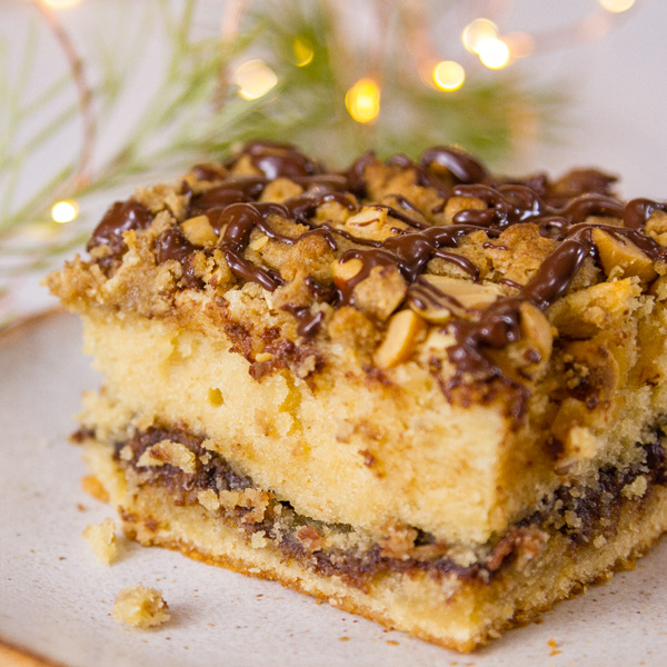a slice of peanut butter cake with a nutella swirl and a crunchy topping with twinkle lights in the background