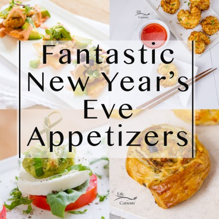 """4 images of appetizers in a collage with the title overlay, """"Fantastic New Year's Eve Appetizers"""""""