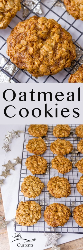 Famous Oatmeal Cookies long pin for pinterest with two images
