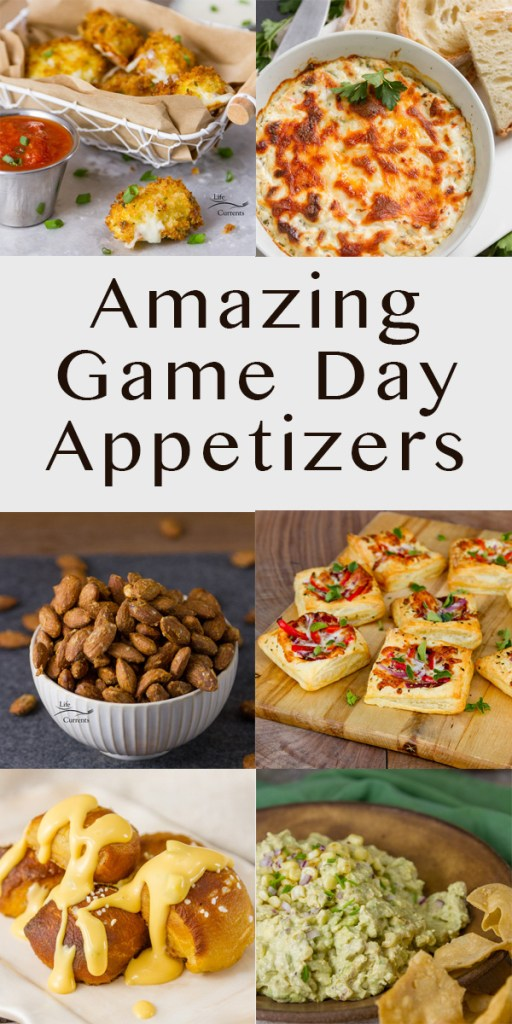 Amazing Game Day Appetizers 6 image collage with tile long pin for Pinterest
