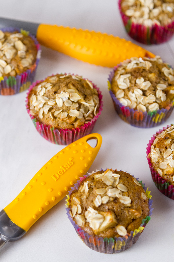 some apple oatmeal muffins with the handles of the Deiss Nylon Utensils