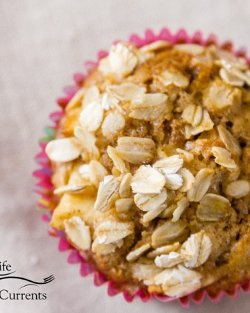 featured image for apple oatmeal muffins, square crp of muffin