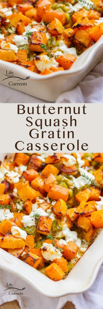 Butternut Squash Gratin Casserole long pin for Pinterest with two images and a title