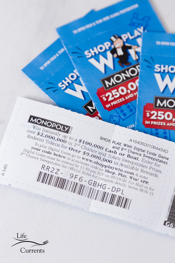 digital code inside the Monopoly game ticket for How to play and win Safeway Monopoly Shop Play Win