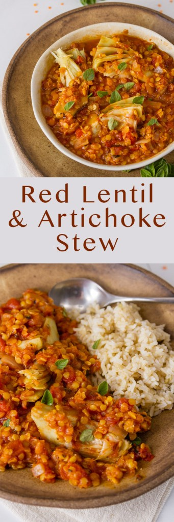 Long pin for Pinterest with two images of Red Lentil and Artichoke Stew and the title
