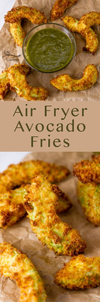 Air Fryer Avocado Fries long pin for pinterest with two images and the title
