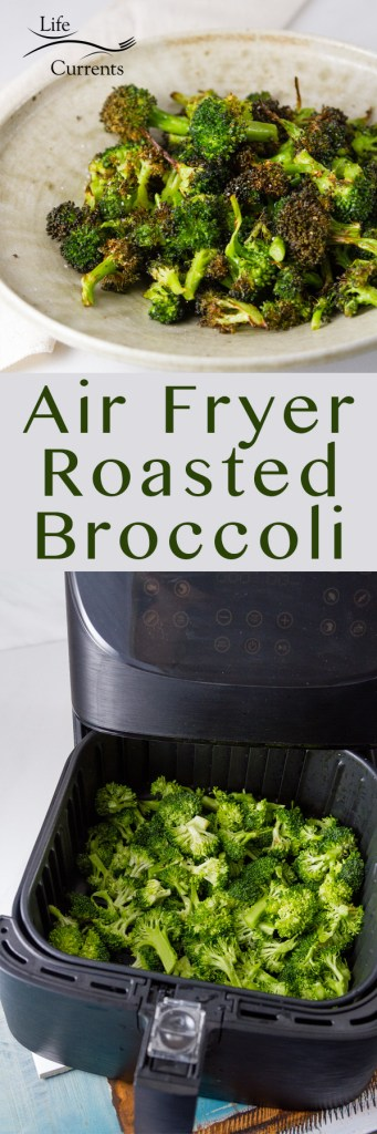 Long pin for pinterest of Air Fryer Roasted Broccoli with two images