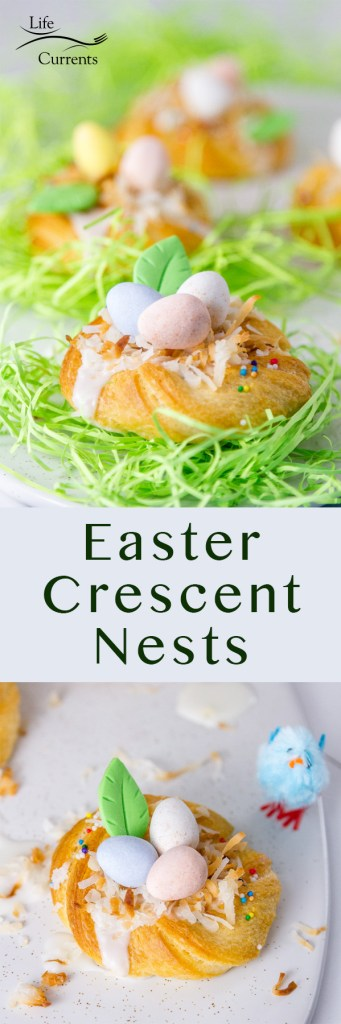Long pin for pinterest of Easter Crescent Nests with the title in the middle of two images
