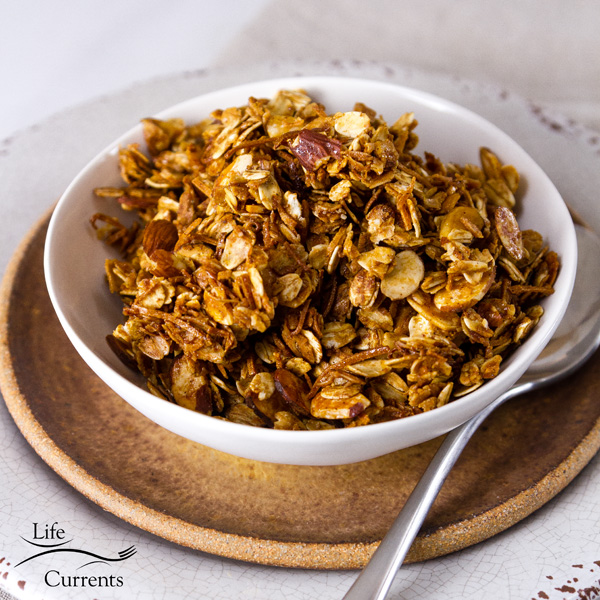 Homemade Granola Recipe served plain in a white bowl with a spoon on the right side