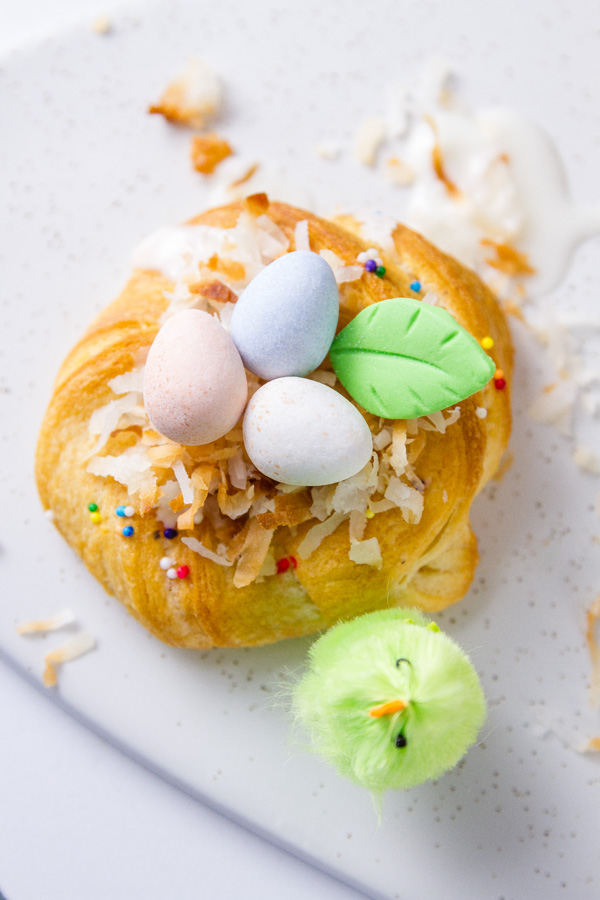 top down view of one Easter Crescent Nests with a green chick next to it