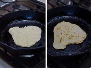 Here are the two sides of the No Yeast Flatbread cooking