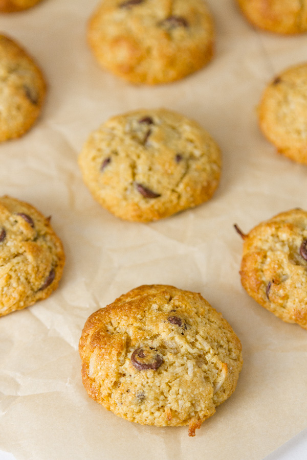 a bunch of Coconut Almond Meal Cookies with Chocolate Chips on parchment paper