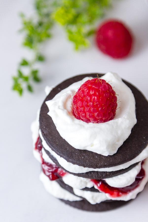 looking down on a Chocolate Raspberry Icebox Cake