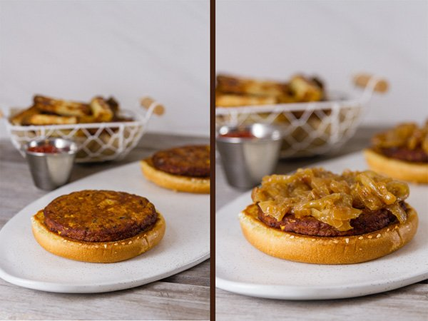 Process shots for Monster Cheese Burger: on the left, the bun and the pattty, fries in the background