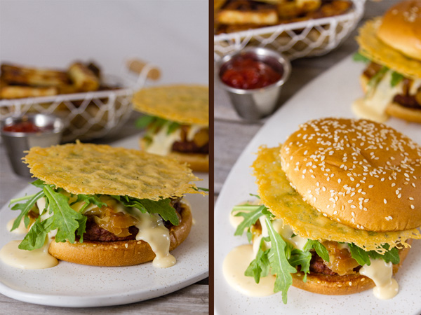 process shots for Monster Cheese Burger: place the Parmesan cheese crisp on top and top with the butter toasted bun