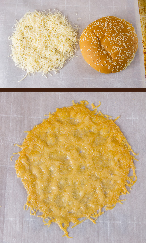 Parmesan Cheese Crisps for Monster Cheese Burger: process shots: On top, freshly grated Parmesan cheese next to a hamburger bun for measuring the size. Under: the finished crispy cheese crisp