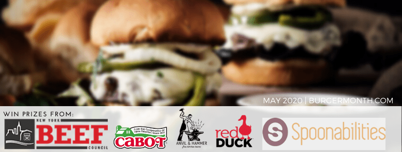 Monster Cheese Burger is part of Burger Month this is the header banner image with burgers and sponsor logos