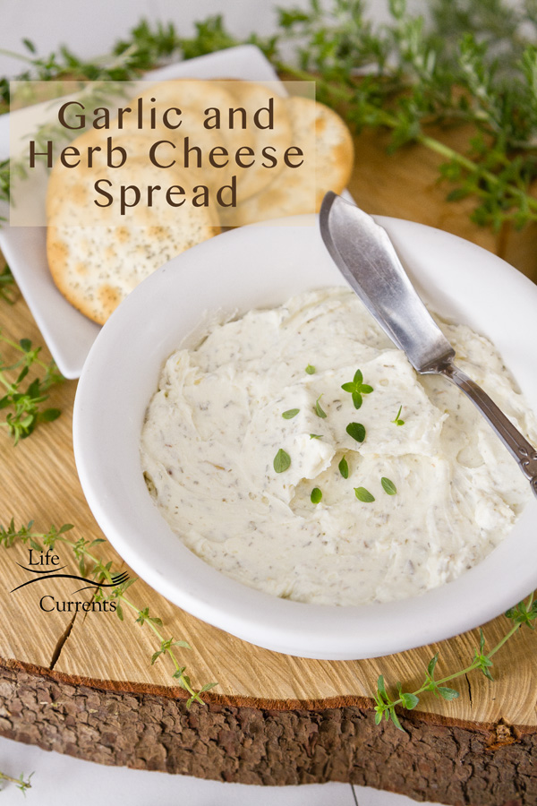 Garlic and Herb Cheese Spread in a white bowl with a cheese spreader knife and crackers on a wood round with lots of fresh herbs around
