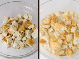 process shots how to make bread pudding: soak the bread in milk on the left, mix in the egg mixture on the right
