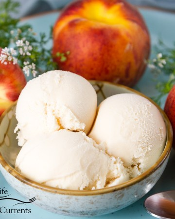 Peach Ice Cream in a small bowl with peaches around and flowers on a blue plate