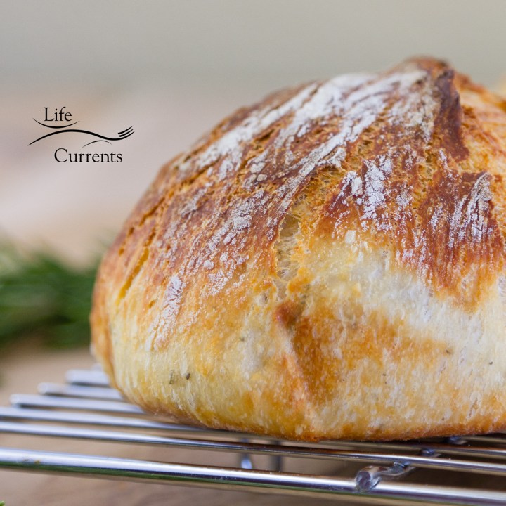 a loaf of No-Knead Parmesan Rosemary Bread on a cooling rack with Life Currents logo in the upper left