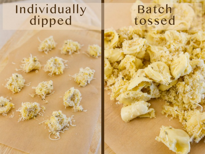 recipe testing for Air Fryer Tortellini: left: individually dipped, and right batch tossed