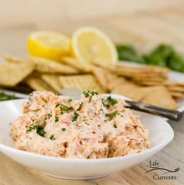 square crop of salmon pate with crackers, lemons, and parsley in the background