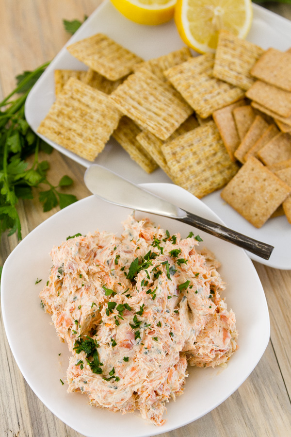 top down look at Smoked Salmon Pate in a bowl with crackers