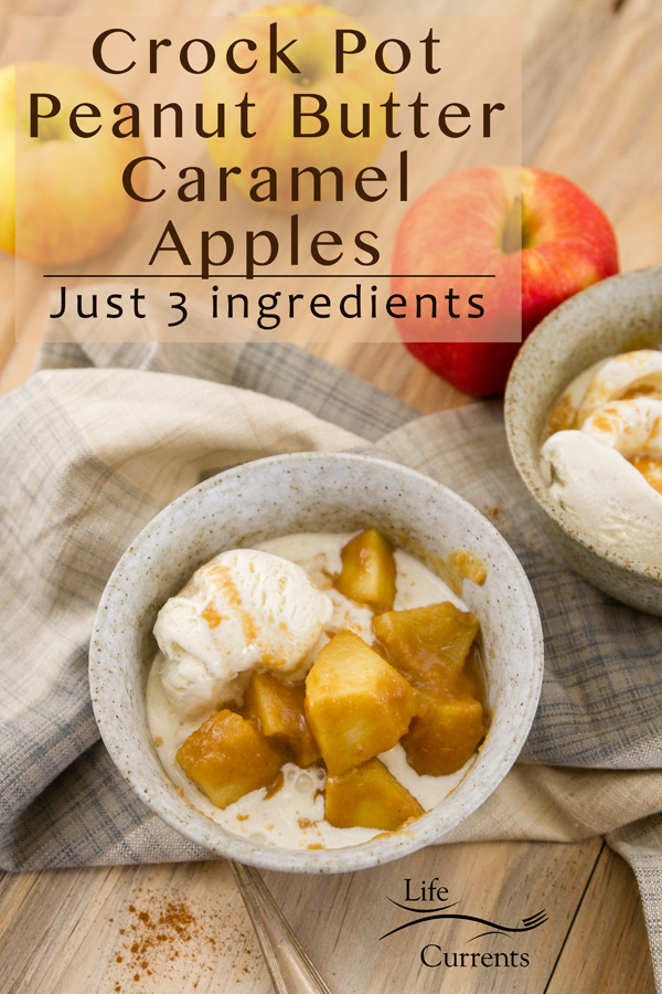 Slow Cooker Peanut Butter Caramel Apples in a bowl served with ice cream. Title on image