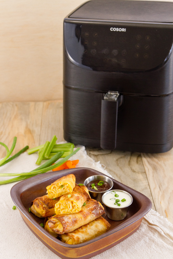 The egg rolls pictured with my air fryer
