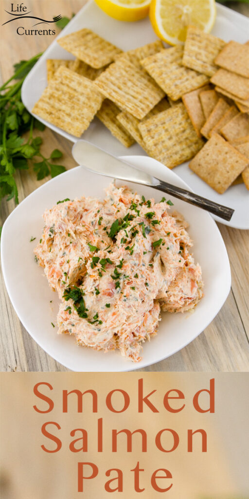 title at bottom of image: Smoked Salmon Pate looking down on a bowl of pate served with crackers