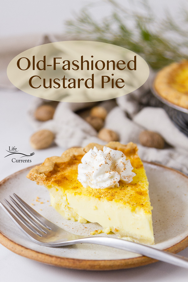 a slice of Custard Pie on a plate with a fork and the pie is in the background.