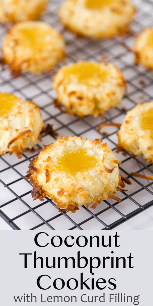 lemon curd filled Coconut Thumbprint Cookies on a cooling rack with title on image