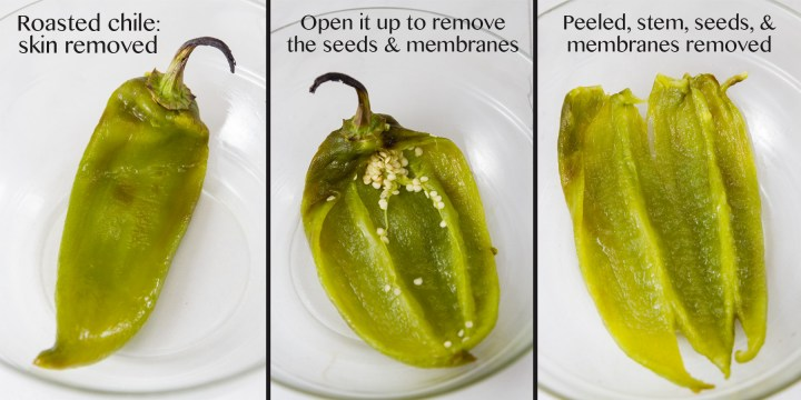 three images of roasted peppers being cleaned