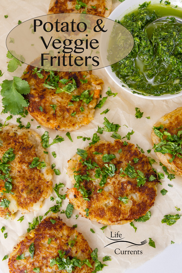 Potato and Veggie Fritters on parchment paper garnished with chopped cilantro served with Chimichurri, title on image