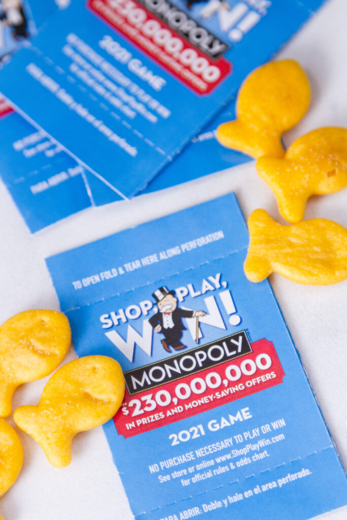 SHOP, PLAY, WIN!® game pieces with Goldfish crackers