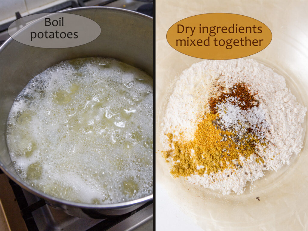 process shots for making fritters, two images or boiling potatoes and dry ingredients in a bowl