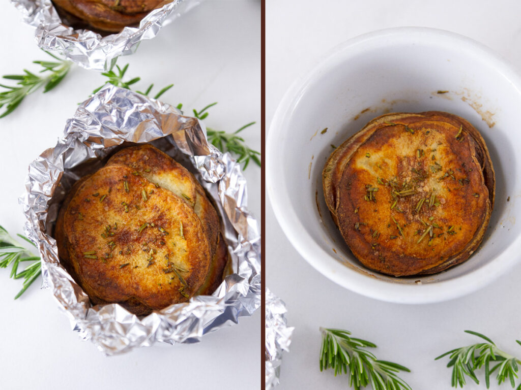 stacked potato slices in foil on the left and in a ramekin of the right.