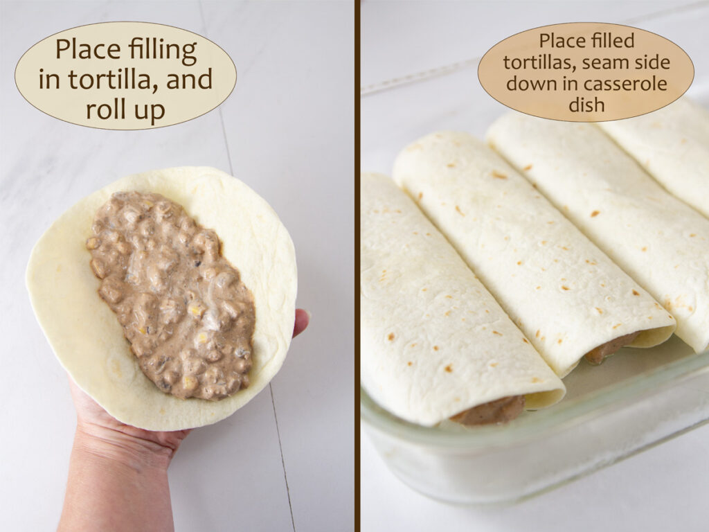 how to make enchiladas: fill the tortilla, roll up, and place in casserole dish.
