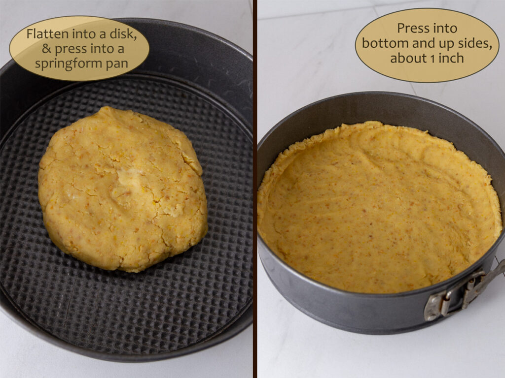 How to make Lemon Cream Pie, process shots: form into a disk, then press into the springform pan.