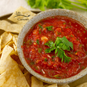 square crop of tomato salsa in a bowl garnished with cilantro and served with chips.