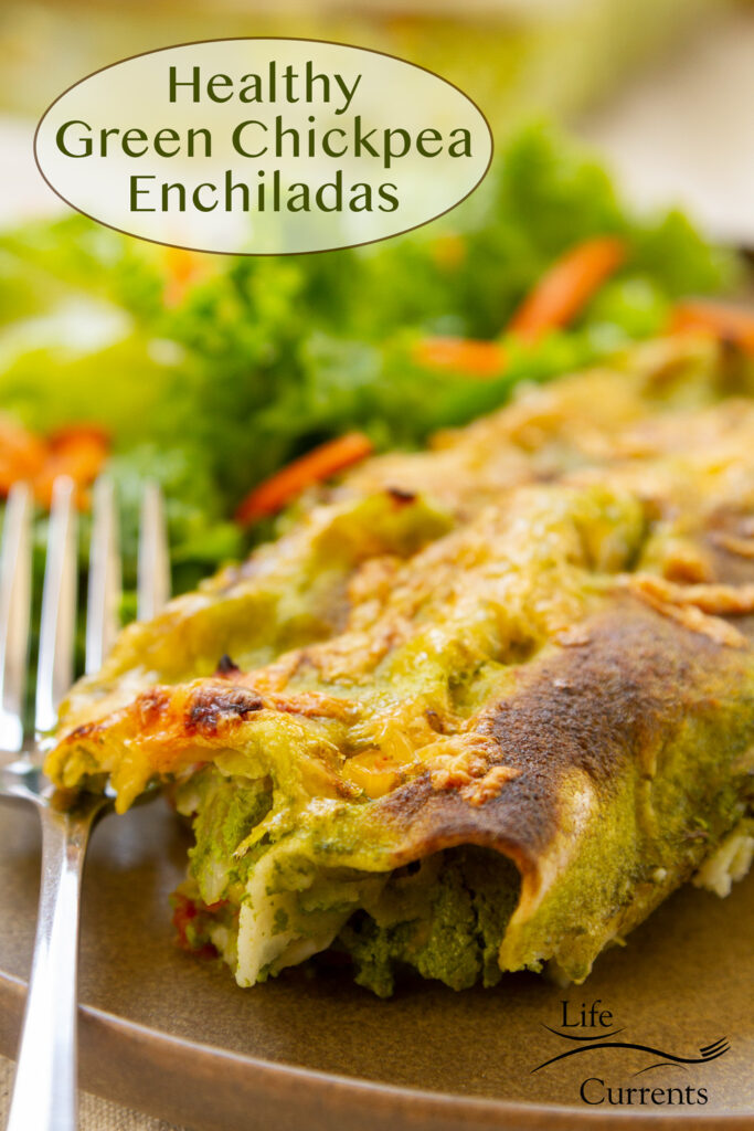enchiladas on a plate with a green salad in the background, title on upper left: Healthy Green Chickpea Enchiladas.