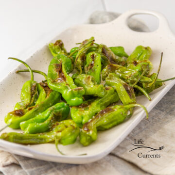 square crop of cooked Shishito Peppers on a white tray.