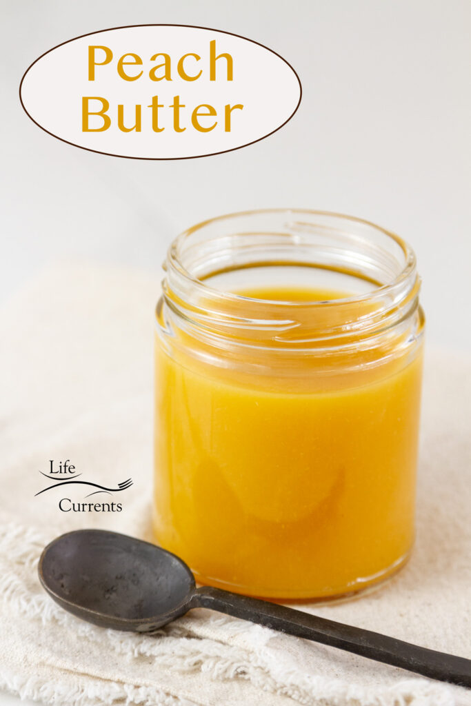 Peach Butter is a glass jar with a spoon and the title on image.